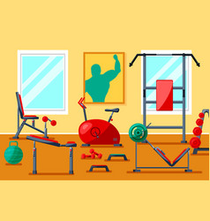 Fitness gym equipment vector