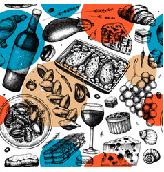 french food trendy seamless pattern with hand vector image