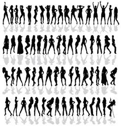 Girl in various poses black silhouette vector