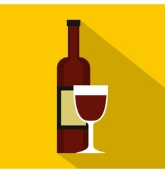Glass of red wine and a bottle icon flat style vector