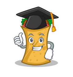 graduation kebab wrap character cartoon vector image