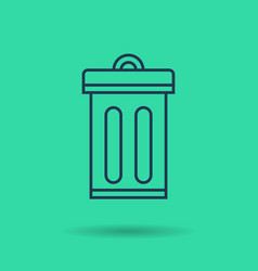 green isolated linear icon - eco city - trash can vector image