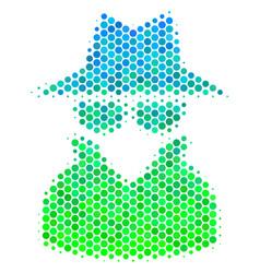 Halftone blue-green spy icon vector