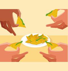 Hands grabbing nachos vector