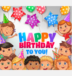happy birthday to you bright design with cute vector image