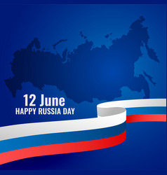 Happy russia day patriotic poster design with flag vector