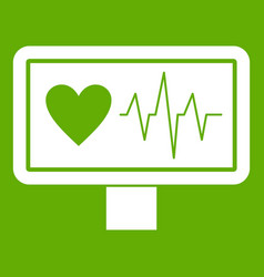 heartbeat icon green vector image