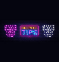 helpful tips neon text helpful tips neon vector image