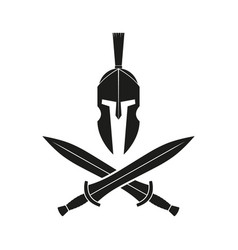Illstration spartan helmet with two vector