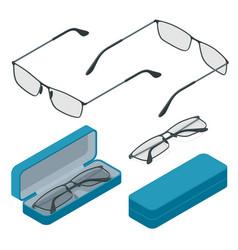 isometric glasses isolated on white background vector image
