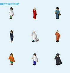 Isometric human set of lady businesswoman vector