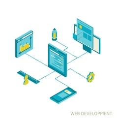 isometric of website analytics vector image