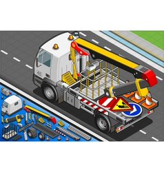 Isometric Platform Lift Truck in Rear View vector