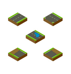 Isometric way set of incomplete driveway plash vector