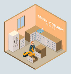 Kitchen installation isometric concept vector