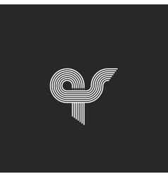 Letters qs logo intersection combs geometric vector