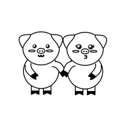 Line cute couple pig wild animal with face vector