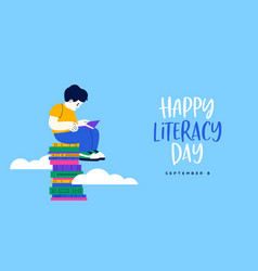 Literacy day card cute kid reading book in sky vector
