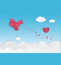 love and valentines day theme background plane vector image