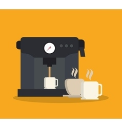 Machine and mug of coffee shop design vector