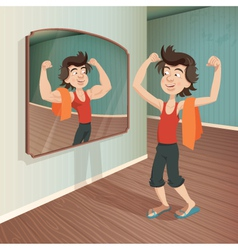 man flexing his muscles vector image