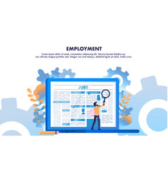 Man use loupe search employment newspaper page vector