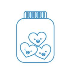 Mason jar bottle with hearts kawaii character vector