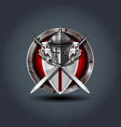 Medieval warrior knight helm with shield and vector