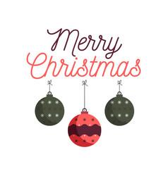 Merry christmas emblem design with xmas balls toys vector