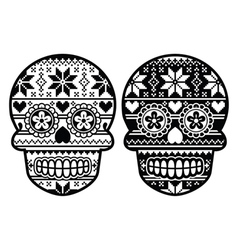 Mexican black sugar skull with winter pettern vector image