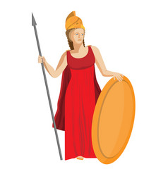 Mythological greek athena holding spear and shield vector