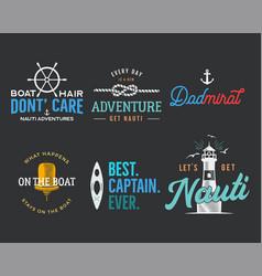 nautical vintage prints designs set for t-shirts vector image