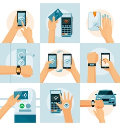 NFC Technology Flat Style Concept vector