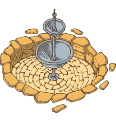 Old Stone Dry Fountain vector