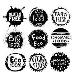 Organic Bio Food Black And White Label Set vector