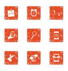 phone life icons set grunge style vector image