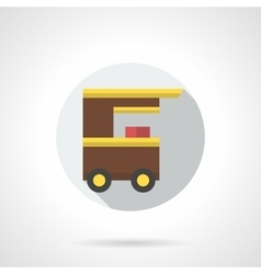 Popcorn cart flat round icon vector image
