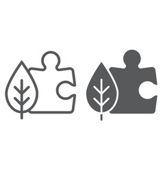 puzzle with leaf line and glyph icon ecology vector image