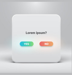 Question card with yes-no buttons vector