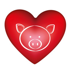 red heart shape with silhouette face cute pig vector image