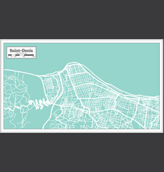 Saint denis reunion city map in retro style vector
