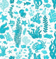 Seamless blue summer underwater pattern vector image