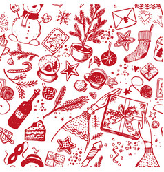seamless christmas pattern red icons with line vector image