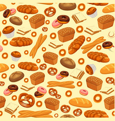 seamless pattern with baked bread and pastry food vector image