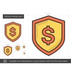 Secure money line icon vector