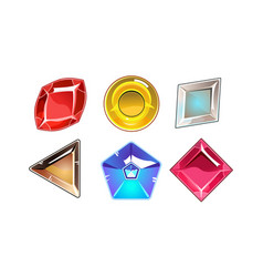 set 6 glossy stones different shapes vector image