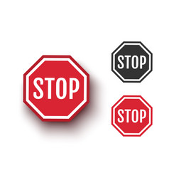 set icons stop sign vector image