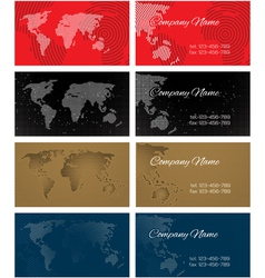 Set of halftone bussines cards with continents for vector