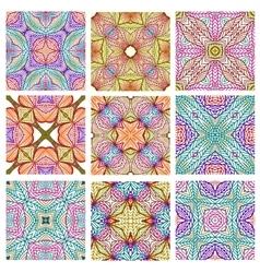set retro seamless patterns geometric shapes vector image