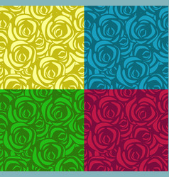 set seamless patterns with roses in different vector image